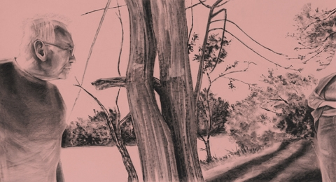 "Digital Files of Artists Mack Gingles, Famous Last Words, 35""x19"", Charcoal on rose paper, 2014"