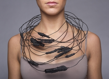 Digital Files of Artists Jolynn Santiago - Stack: 13 Necklaces - Size Varies - Steel, vine charcoal, carbon, lacquer, plastic dip - 2013