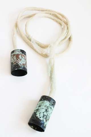 "Digital Files of Artists Petra Podnarcuk : ""Old tin can telephone"" _ necklace ; 8 cm * 2m ; Patinated copper, felted wool, silver ; 2013"