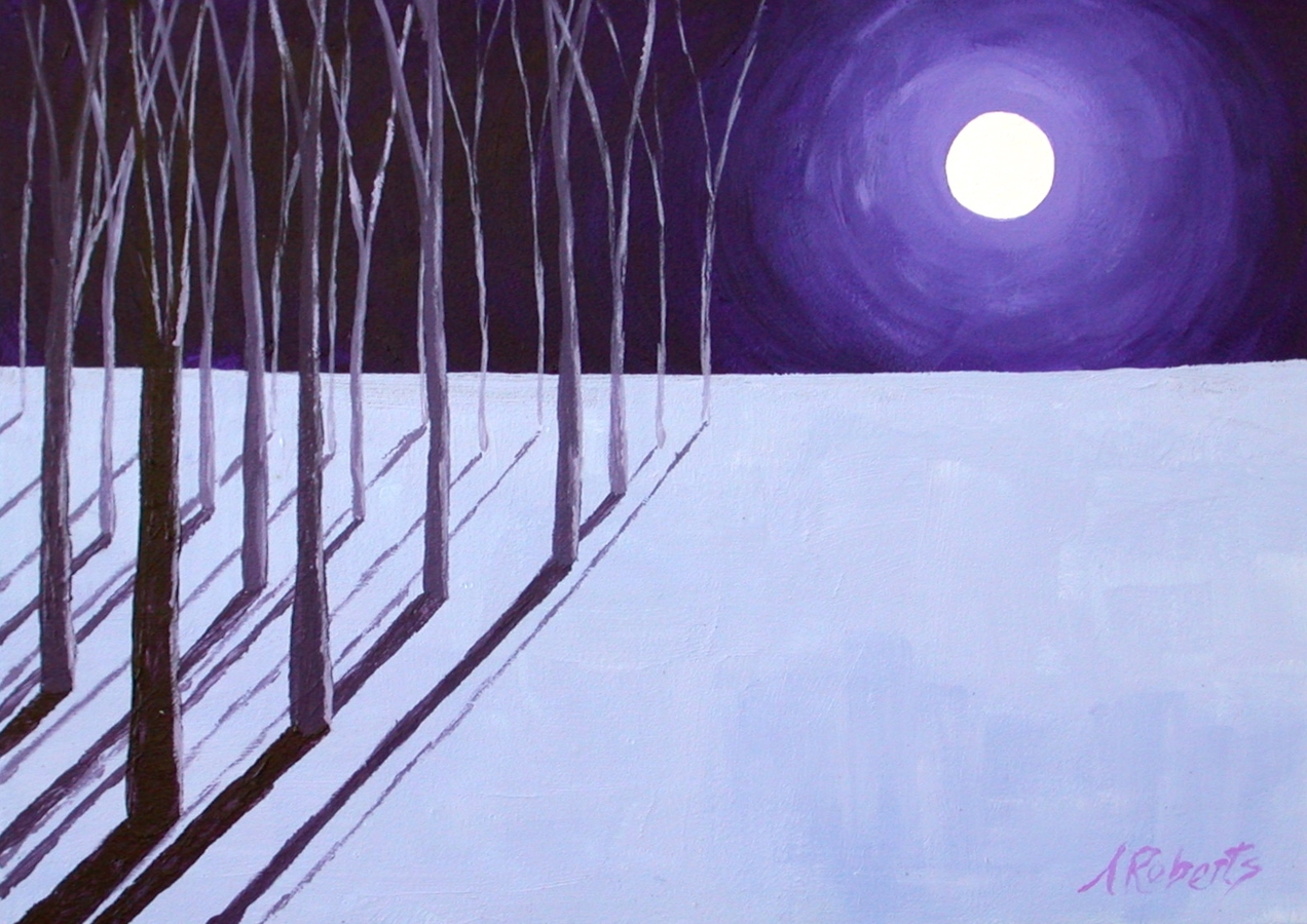 "Digital Files of Artists Anna Roberts, Moonlight, 5""x7"", Acrylic on Gessobord, 2014"