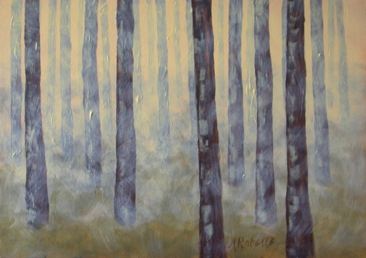 "Digital Files of Artists Anna Roberts, Misty Forest, 5""x7"", Acrylic on Gessobord, 2013"
