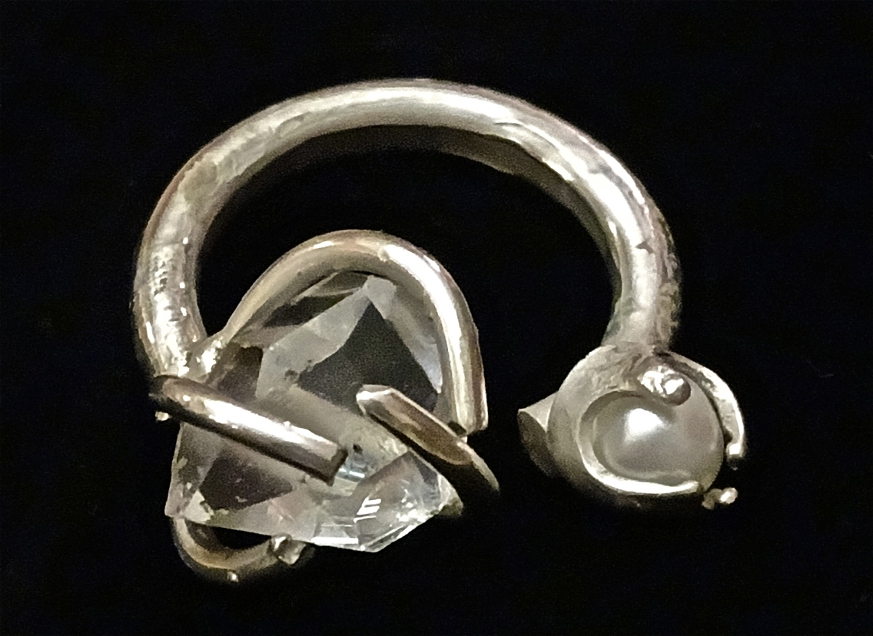 Digital Files of Artists Emily Rollman; Caged Herkimer and Pearl Ring; Recycled Sterling Silver, Herkimer Diamond (Pure Quartz), Freshwater Pearl; 2014