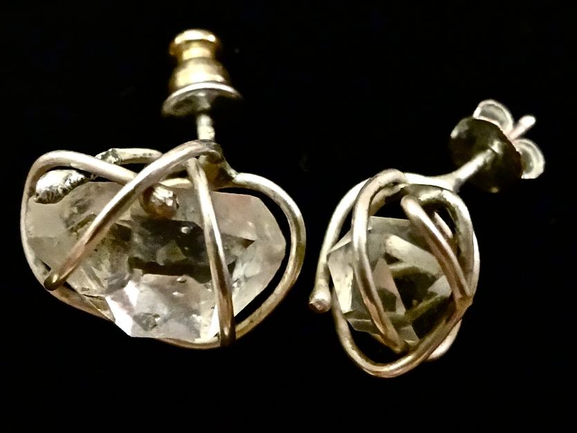 Digital Files of Artists Emily Rollman; Caged Herkimer Earrings; Recycled Sterling Silver, Herkimer Diamond (Pure Quartz); 2014