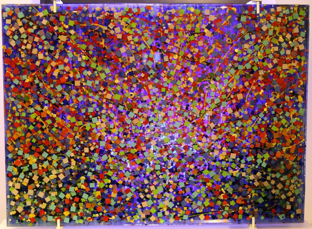 "Digital Files of Artists Ethan Williams, ""Opus One"", 55"" x 40"" x 3"", weight = 240 lbs., two-sided coded epoxy glass piece with oil/acrylic/mixed media, 2013"