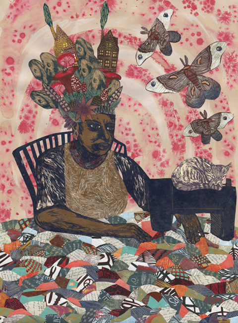 "Art Masters This Month Meredith Stern. ""Eve Was From Africa."" 2014. Collage #314. Collage using linoleum block printing, woodblock printing, spray paint, coffee and ink staining, and handwritten history notes from Fannie Black"