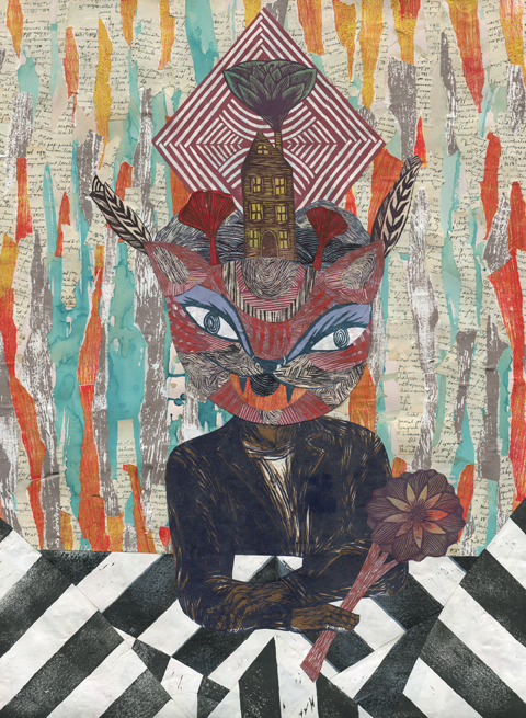 "Art Masters This Month Meredith Stern. ""The Four Elements Converging at the Soul of the Universe."" 2013. Collage #307. Collage using linoleum block printing, woodblock printing, spray paint, coffee and ink staining, and handwritten history notes from Fannie Black"