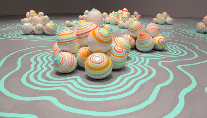 "Art Masters Past Month Dana Lynn Harper, Candy Rainbow Puddles Plaster, paint, resin 1'6"" x 7' x 7'"