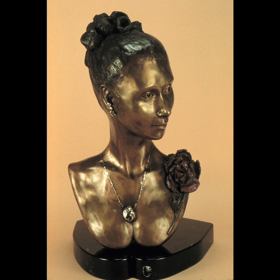 "Digital Files of Artists Ione Citrin, The Rose, 23"" high x 15"" wide x 13 deep, bronze sculpture 2002"