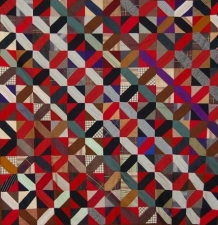 Garvey Rita  Art & Antiques 1920's Railroad Crossing Antique Wool Quilt  Wool cloth