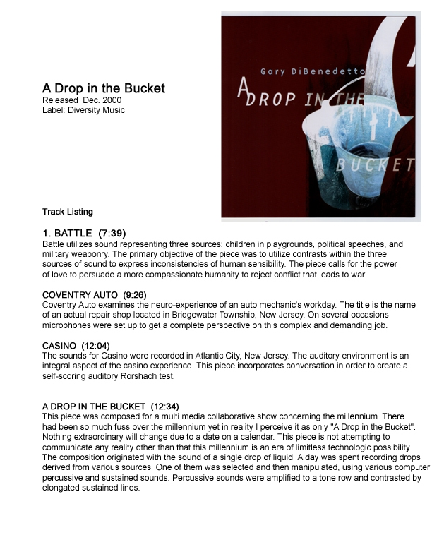 Gary DiBenedetto A Drop in the Bucket CD