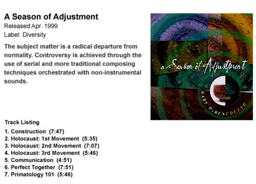 Gary DiBenedetto A Season of Adjustment CD