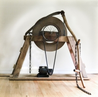 Gary DiBenedetto Kinetic Sound Sculptures Found objects, wood, stone, steel, audio technology