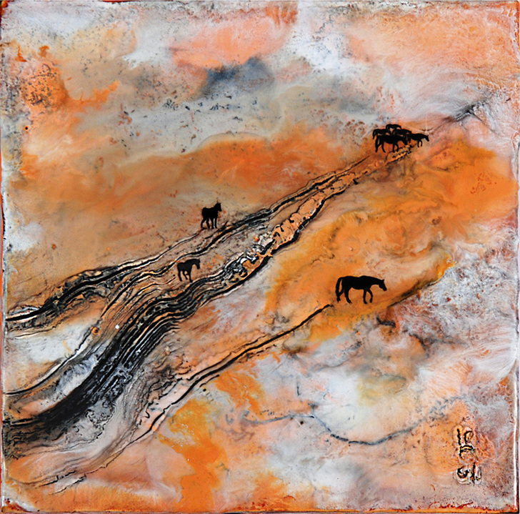 Migration Series encaustic