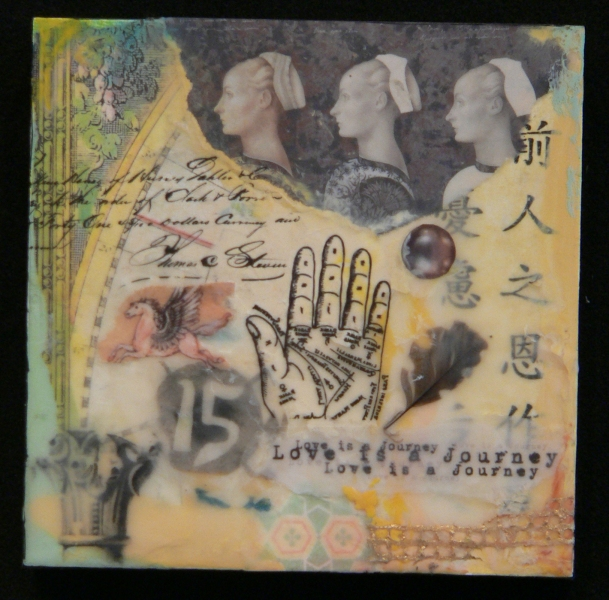 Encaustic Collages Love is a Journey