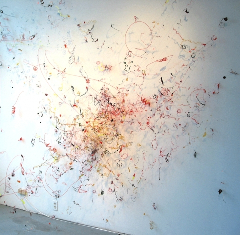 Criss Cross, 2006 monofilament, Dacron line, vinyl lanyard,  felt dots, lead weights, synthetic hair, plastic & styrofoam balls, t-pins