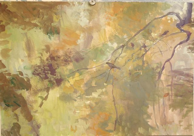 Paintings Autumn. branch, birds