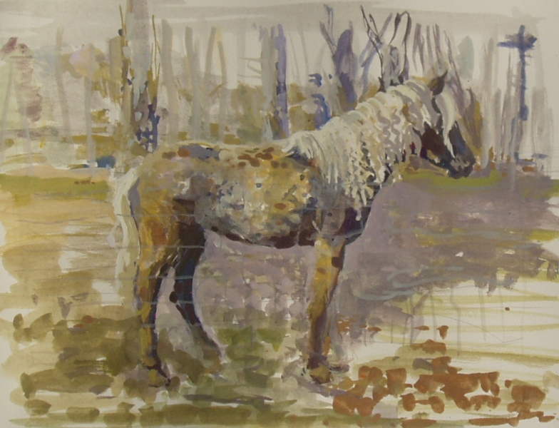 Paintings Horse, gold and lavender