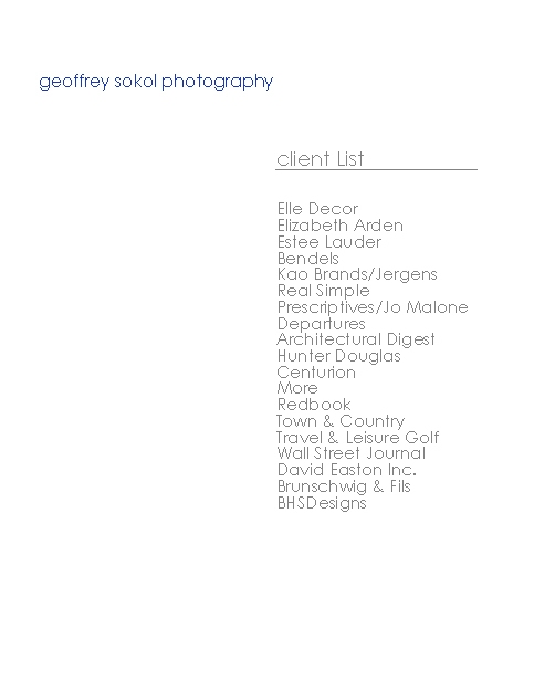 GEOFFREY SOKOL PHOTOGRAPHY CLIENT LIST