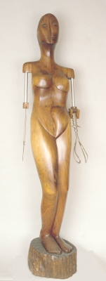 George Megrue Wood carved black walnut, mixed media