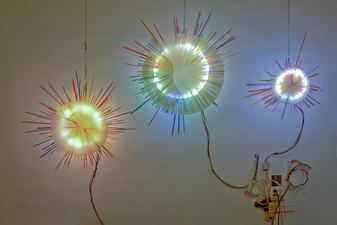 George Kroenert Recent Work Illuminated mixed-media sculpture.