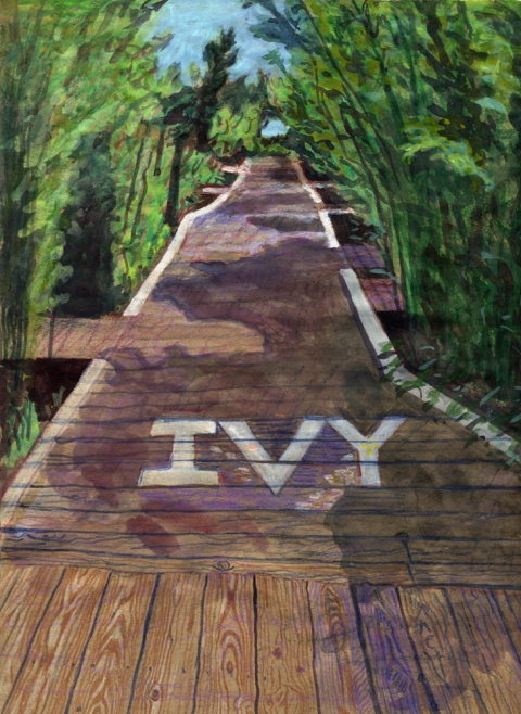 "- Main Artwork / Recent Paintings ""Ivy Walk - Cherry Grove, Fire Island"""