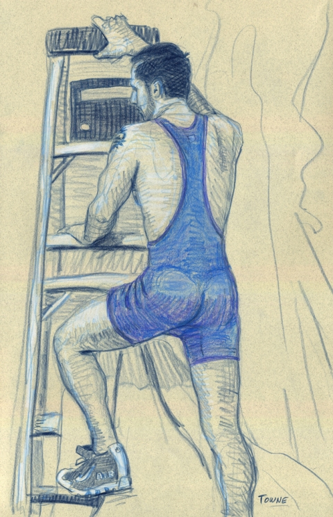 "- ""Erotic Life Drawings/Misc. Erotic Work"" - <i>Warning: Adult Content, please be 18 to view</i> ""Eric - Ladder, Singlet""  Life Drawing"