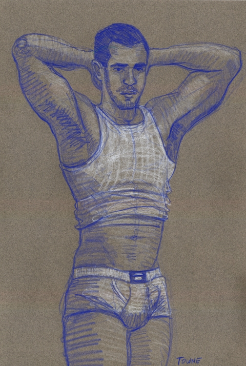 "- ""Erotic Life Drawings/Misc. Erotic Work"" - <i>Warning: Adult Content, please be 18 to view</i> ""Eric - Arms Up, Tanktop""  Life Drawing"