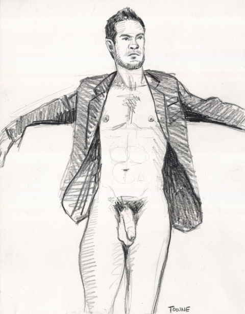 "- ""Erotic Life Drawings/Misc. Erotic Work"" - <i>Warning: Adult Content, please be 18 to view</i> ""Klaus, Suit Jacket, Uncut""  Life Drawing"