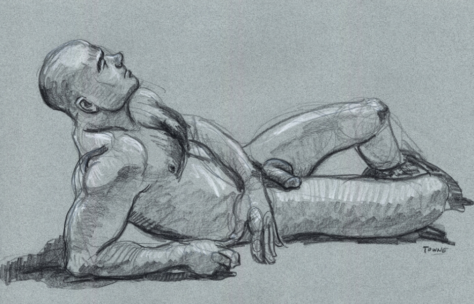 "- ""Erotic Life Drawings/Misc. Erotic Work"" - <i>Warning: Adult Content, please be 18 to view</i> ""Joe Z. - Reclining at The Black Party Poster Event"""