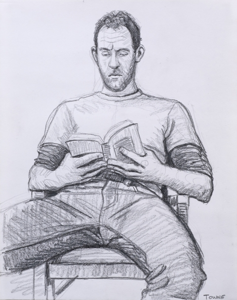 "- Main Artwork / Paintings Page 2 ""Mark Reading, Chair - Drawing"""