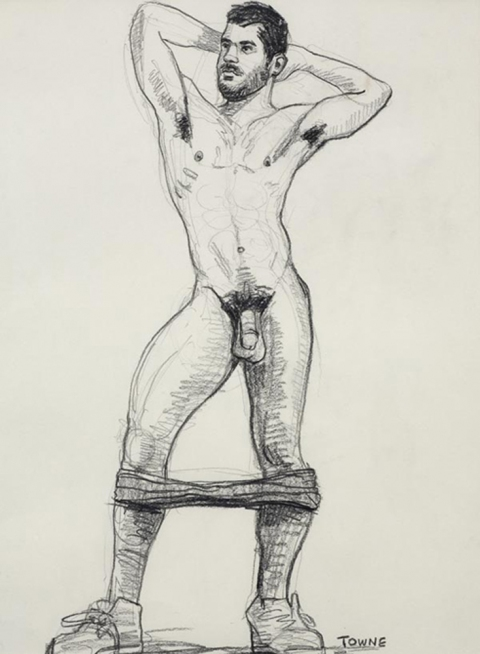 "- ""Erotic Life Drawings/Misc. Erotic Work"" - <i>Warning: Adult Content, please be 18 to view</i> ""Sam (Devries) Standing Nude, Arms Up""  Life Drawing"
