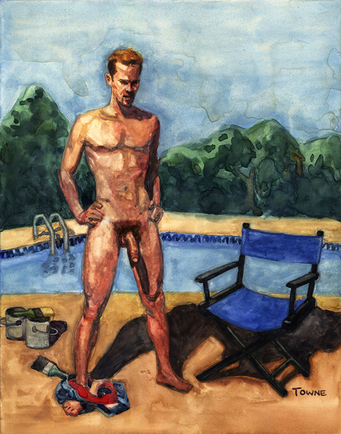 "- ""Erotic Life Drawings/Misc. Erotic Work"" - <i>Warning: Adult Content, please be 18 to view</i> ""Pool Guy - Mandate Illustration"""