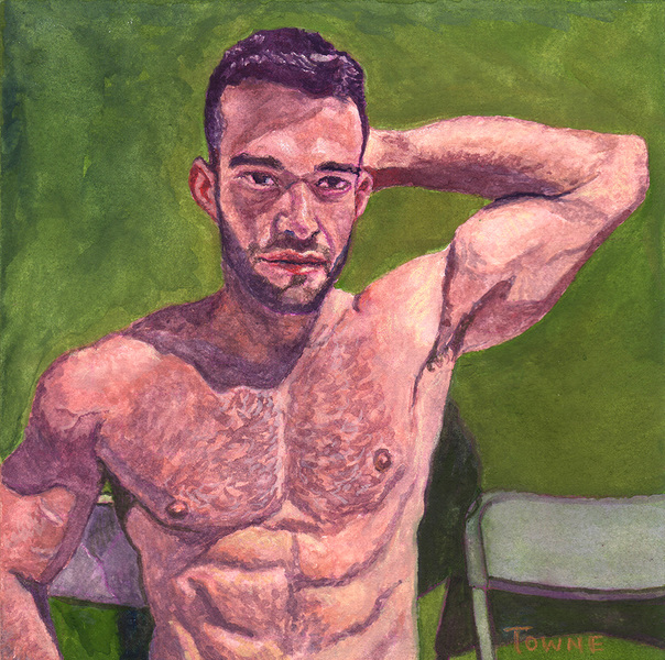 "- ""Erotic Life Drawings/Misc. Erotic Work"" - <i>Warning: Adult Content, please be 18 to view</i> ""Gustavo - Arm Up, Watercolor"""