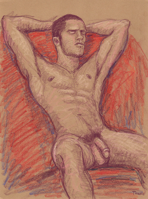 "- ""Erotic Life Drawings/Misc. Erotic Work"" - <i>Warning: Adult Content, please be 18 to view</i> ""Brian - Resting, Red Drapery"" Life Drawing"