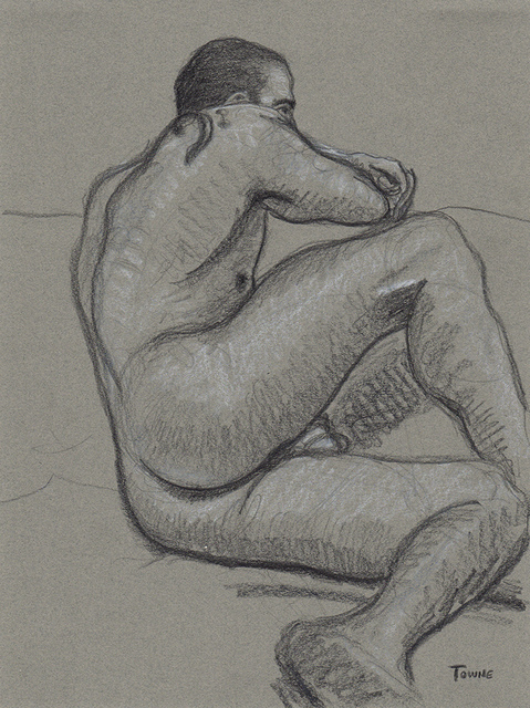 "- ""Erotic Life Drawings/Misc. Erotic Work"" - <i>Warning: Adult Content, please be 18 to view</i> ""Gabriel - Beautiful Butt, On His Side"""