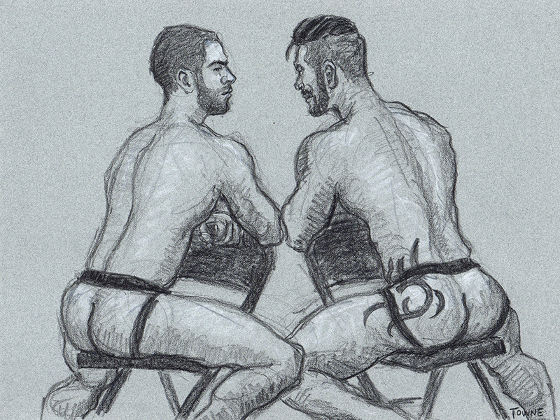 "- ""Erotic Life Drawings/Misc. Erotic Work"" - <i>Warning: Adult Content, please be 18 to view</i> ""Adam Killian/Carlos Lindo-Backsides, Folding Chairs"""
