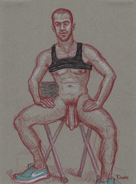 "- ""Erotic Life Drawings/Misc. Erotic Work"" - <i>Warning: Adult Content, please be 18 to view</i> ""Gabriel, Seated, Black Tank, Hanging Junk"""