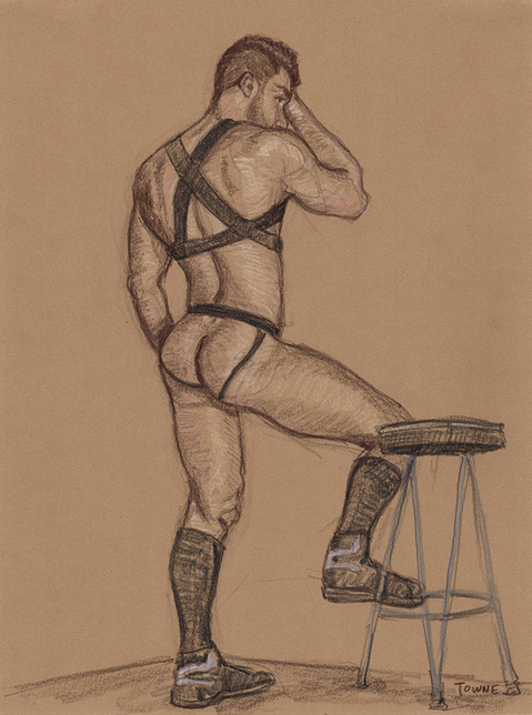 "- ""Erotic Life Drawings/Misc. Erotic Work"" - <i>Warning: Adult Content, please be 18 to view</i> ""James Alexander - Black Harness, Brown Figure"""