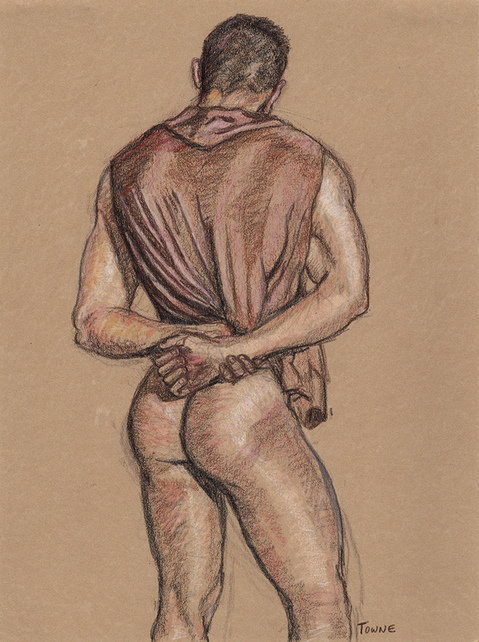 "- ""Erotic Life Drawings/Misc. Erotic Work"" - <i>Warning: Adult Content, please be 18 to view</i> ""James, Brown Hooded, Backside"""