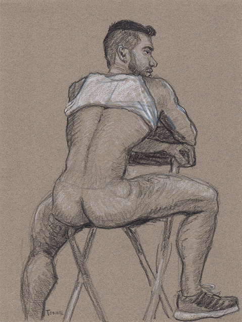 "- ""Erotic Life Drawings/Misc. Erotic Work"" - <i>Warning: Adult Content, please be 18 to view</i> ""Gustavo - Seated, Backside, Tanktop"""
