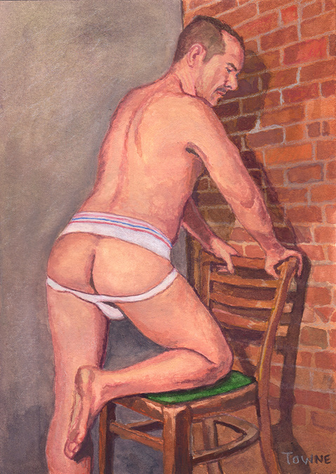 "- ""Erotic Life Drawings/Misc. Erotic Work"" - <i>Warning: Adult Content, please be 18 to view</i> ""Christopher W., Backside, Jock - Watercolor"""