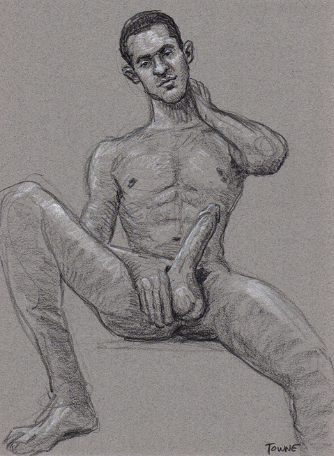 "- ""Erotic Life Drawings/Misc. Erotic Work"" - <i>Warning: Adult Content, please be 18 to view</i> ""Tony, Seated - Hardon"""