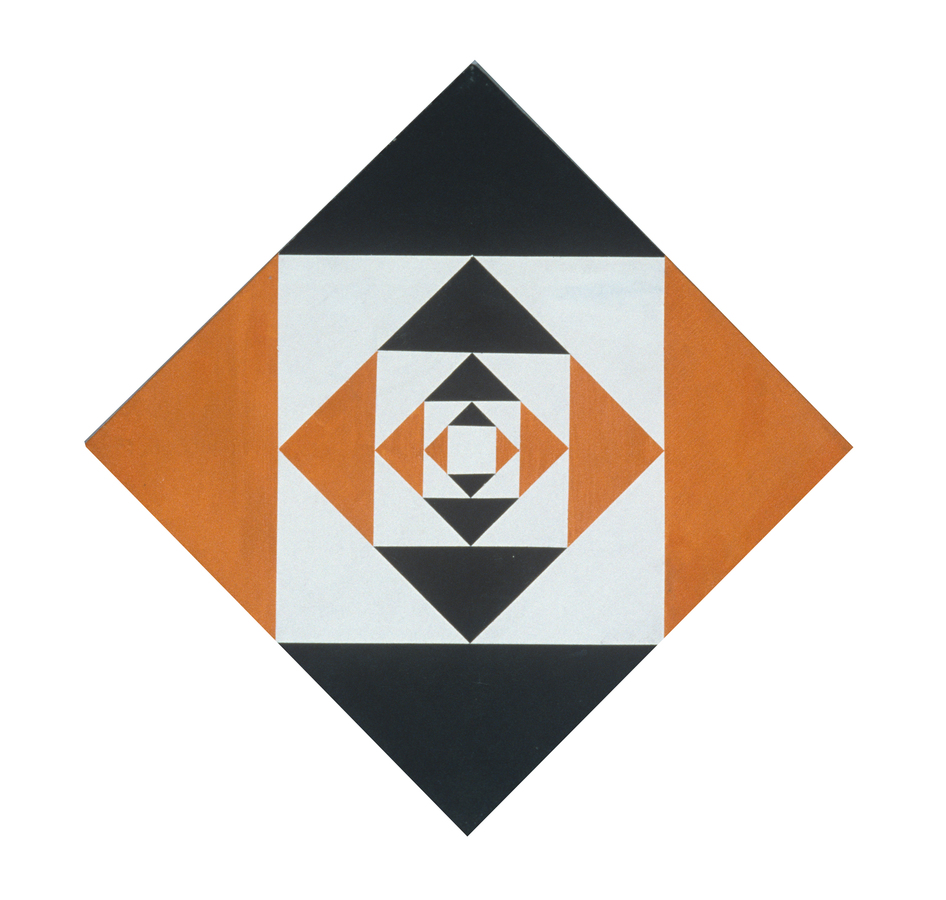 Paintings Untitled Black and Orange Diamond