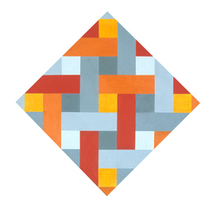 Untitled Red, Orange, Yellow, and Grey Diamond II