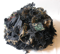 Gilda Pervin  Sculpture Burlap, acrylic paint, silicon carbide grit, bird forms, found objects