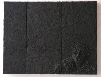Gilda Pervin Black Reliefs Portland cement, sand, acrylic paint, pigment, metal brackets, on wood