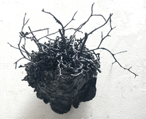 Gilda Pervin Wall Sculpture 1 Acrylic paint, plastic shavings, found objects, cement backing