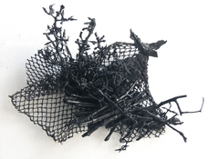 Gilda Pervin Wall Sculpture 1 Acrylic paint, found objects, netting, cement backing