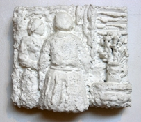 Gilda Pervin Figures 1 Portland cement, sand, acrylic gesso and paint, on wood