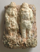Gilda Pervin Small figurative reliefs Portland cement, sand, acrylic medium, acrylic paint, on wood